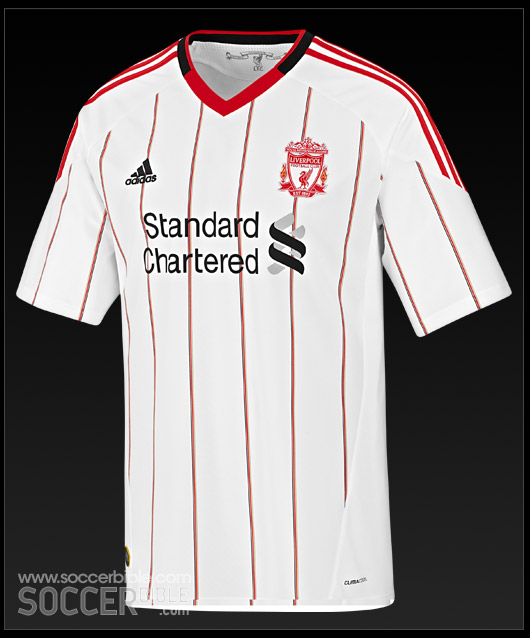 1b040a149 The new 10 11 Liverpool Football Jersey is a white shirt featuring a pin  stripe design