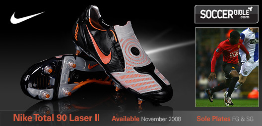 quality design caeae aa21a Patrice Evra has debuted the Nike Total 90 Laser II football boots in the  new blackorange blazemetallic silver colourway. Playing for Manchester  United in ...