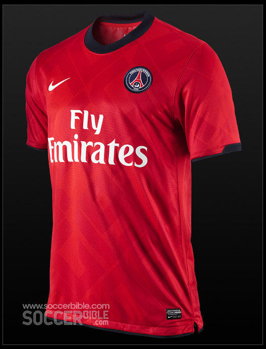 32a9b5d17ab The PSG Away football kit 10/11 features an all-red shirt with a roundneck  collar, adorning the entire shirt is the print 'PSG 1970' which  commemorates the ...