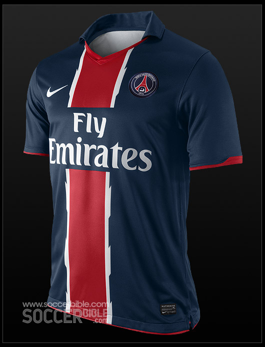 36877ce88bc ... the club's traditional colours, and reinstates the iconic blue shirt  with a central red vertical stripe trimmed with white for the 10/11 PSG  home shirt.