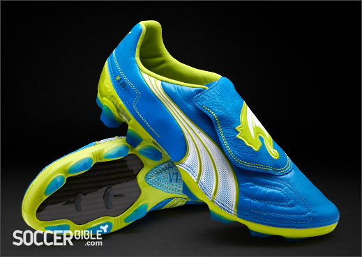best website 827c0 bc21a Puma V1.11 K Leather Football Boots – Blue White Lime